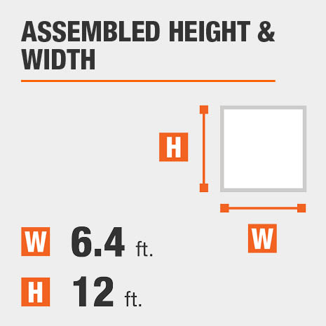 Assembled height equals 6.4 feet Assembled width equals 12 feet