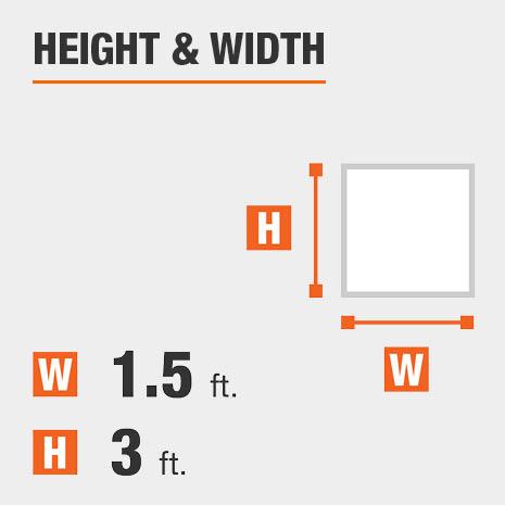 Height equals 3 feet Width equals 1.3 feet