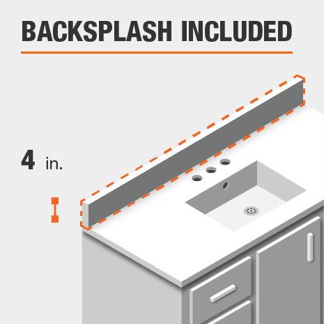 This bathroom vanity includes a backsplash.