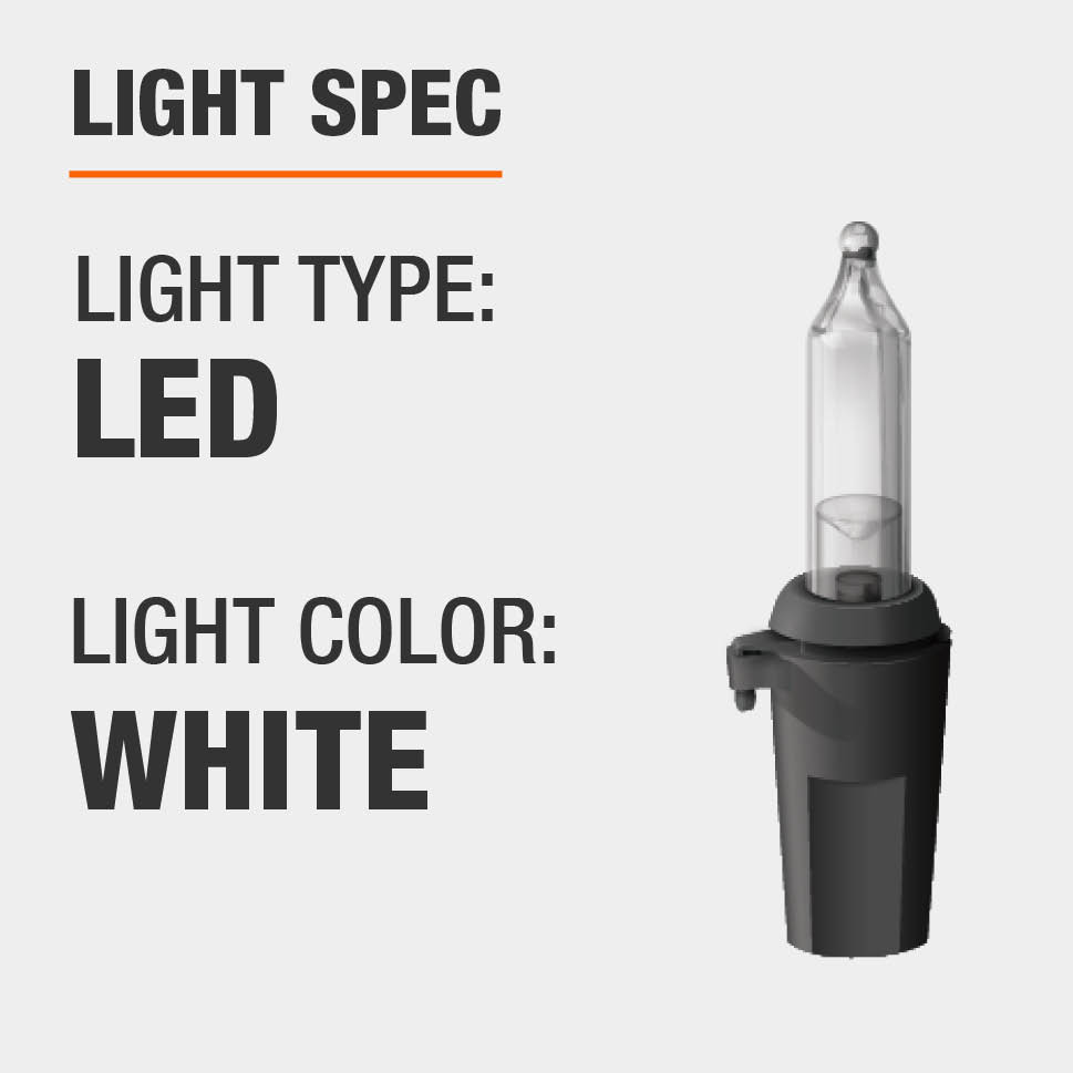 The light type is LED and color is white