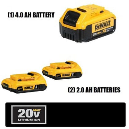 Two 20V MAX Compact Lithium Ion 2.0Ah Batteries & One 4.0Ah Battery are compatible with the complete line of DEWALT 20V MAX tools and accessories