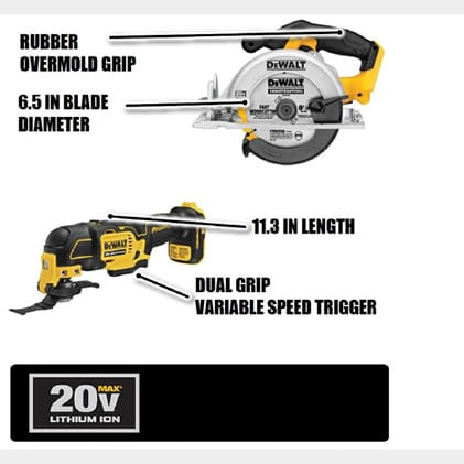 Circular Saw features a 3700 RPM motor for power and speed. The DCS354 Oscillating Multi-Tool brushless motor provides up to 57% more run time.