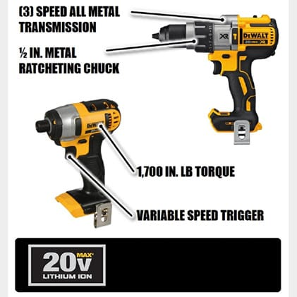 Drill Driver has a compact, Lightweight design. DCF885 Impact Driver provides up to 1400 in. lbs. of maximum torque and delivers up to 2800 RPM.
