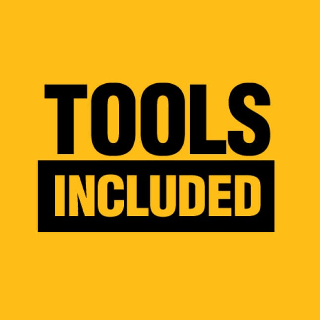 Drill Driver, Impact Driver, Circular Saw, Oscillating Multi Tool, Grinder, Sander, LED Worklight and a ToughSystem tool box.