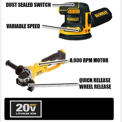The DCG412 Grinder provides up to 7000 RPM.  The DCW210 Random Orbital Sander offer variable speed control for 8,000-12,000 OPM