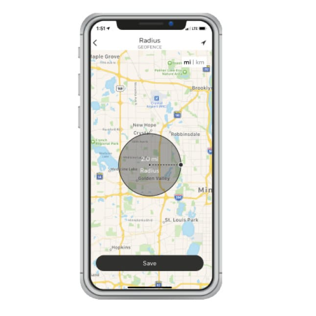 Smartphone displaying location-based geofencing technology