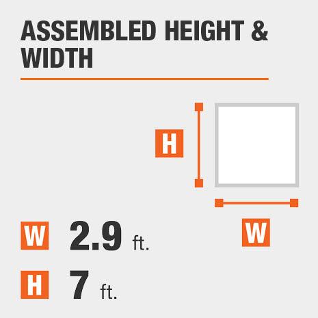 Assembled height equals 6 feet Assembled width equals 2.9 feet