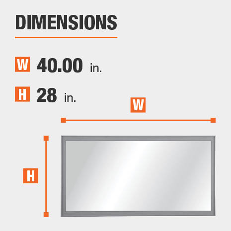 The dimensions of this bathroom vanity mirror are 40.00 in. W x 28.00 in. H