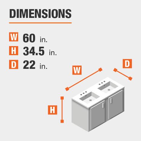 The dimensions of this bathroom vanity are 60.00 in. W x 34.50 in. H x 22.00 in. D