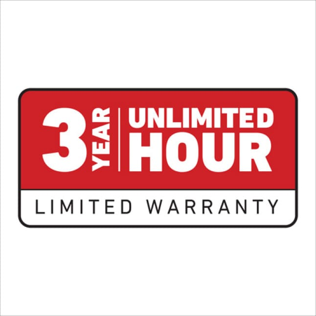 icon that shows Toro's 3 year unlimited hour warranty