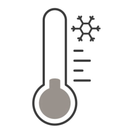 An icon of a thermometer measuring the temperature. A snowflake in the corner displays that it is cold.