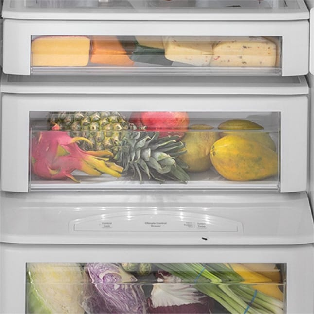 Image of fresh food drawers filled with fruit and vegetables