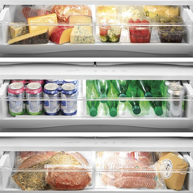 The same drawer is shown in three applications: Cheeses, Beverages, and Meats, each at their own customized temperature.
