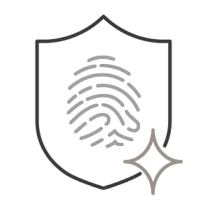 An icon of a shield with a fingerprint in the center. A small sparkle is superimposed in the bottom right corner.
