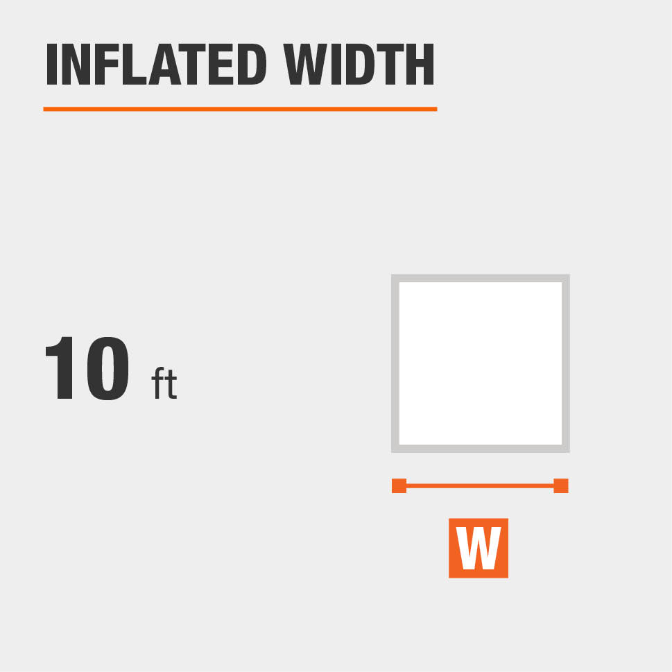 Inflated width is 10 feet
