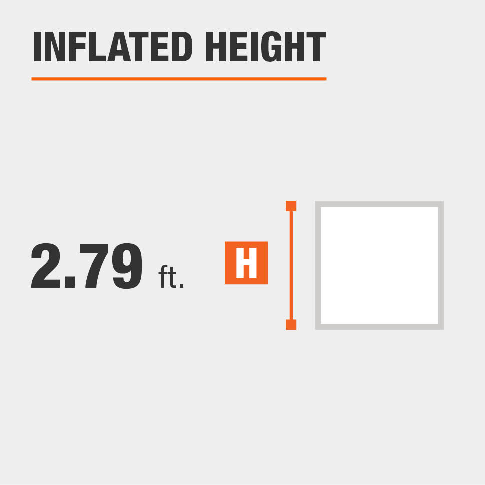 Inflated height is 2.79 feet