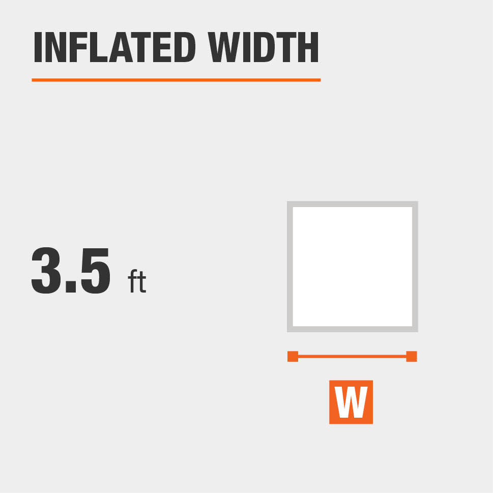 Inflated width is 3.5 feet