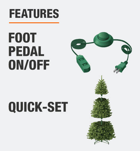 This tree features quick-set for easy assembly and a foot pedal to turn tree on/off