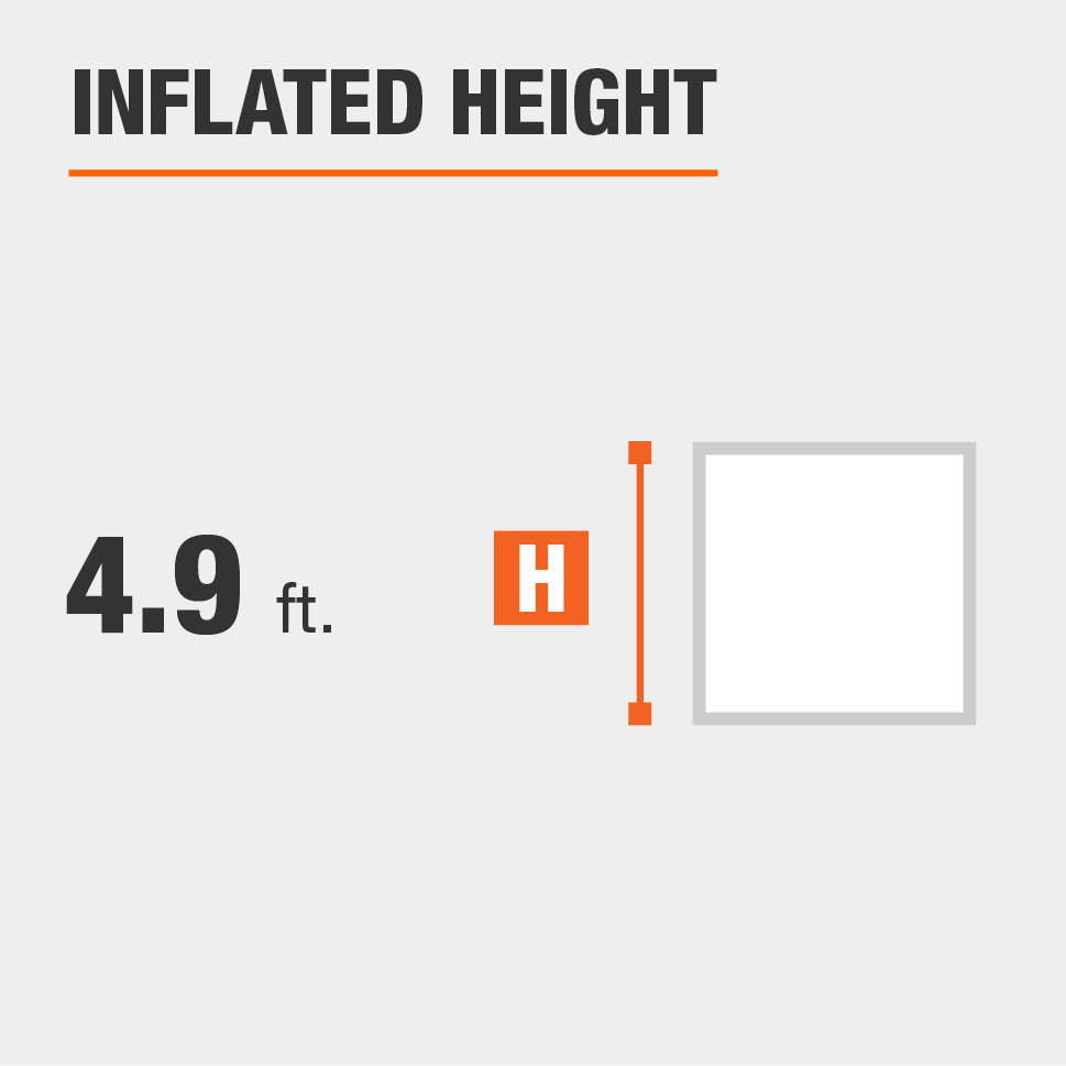 Inflated height is 4.9 feet