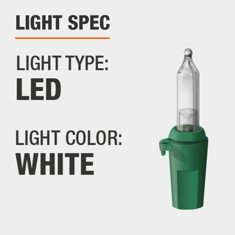 The light type is LED and the color is white
