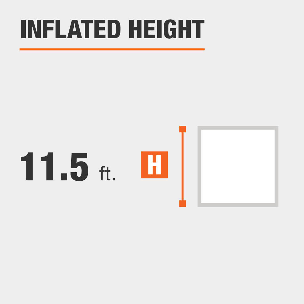 Inflated height is 11.5 feet