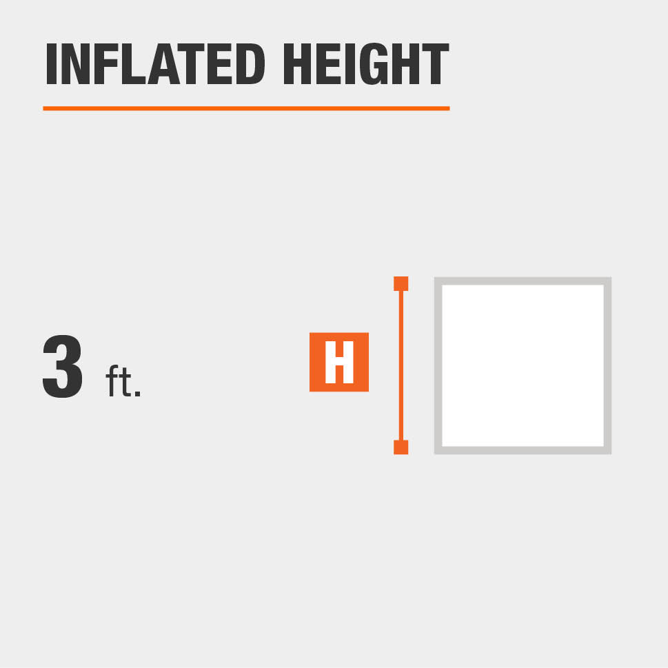 Inflated height is 3 feet