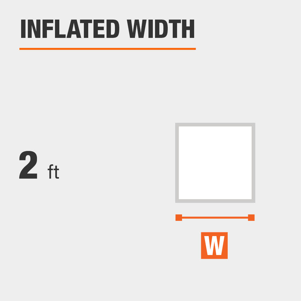 Inflated width is 2 feet