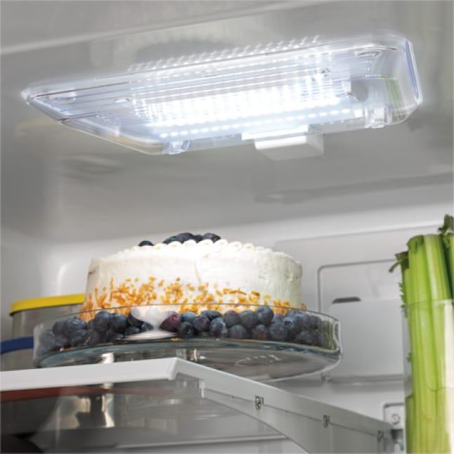 Food illuminated by the LED lighting.