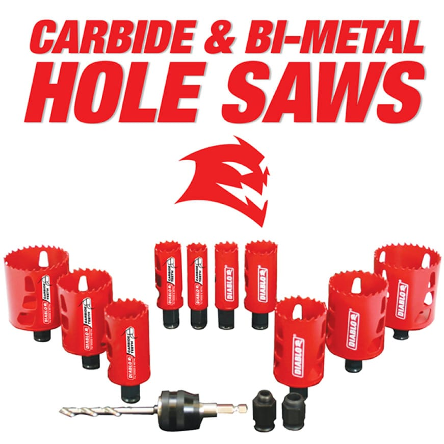 This is an image of Diablo's complete range of carbide and bi-metal hole saws.