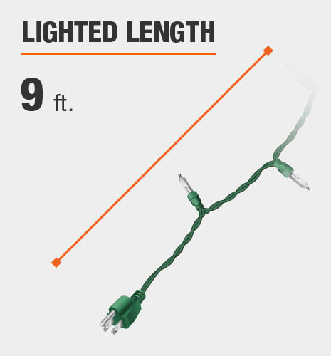 The lighted length is 9 feet