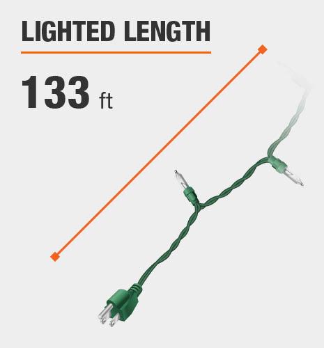 The lighted length is 133 feet