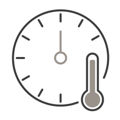 An icon of a timer. A thermometer with a high reading is superimposed in the corner.