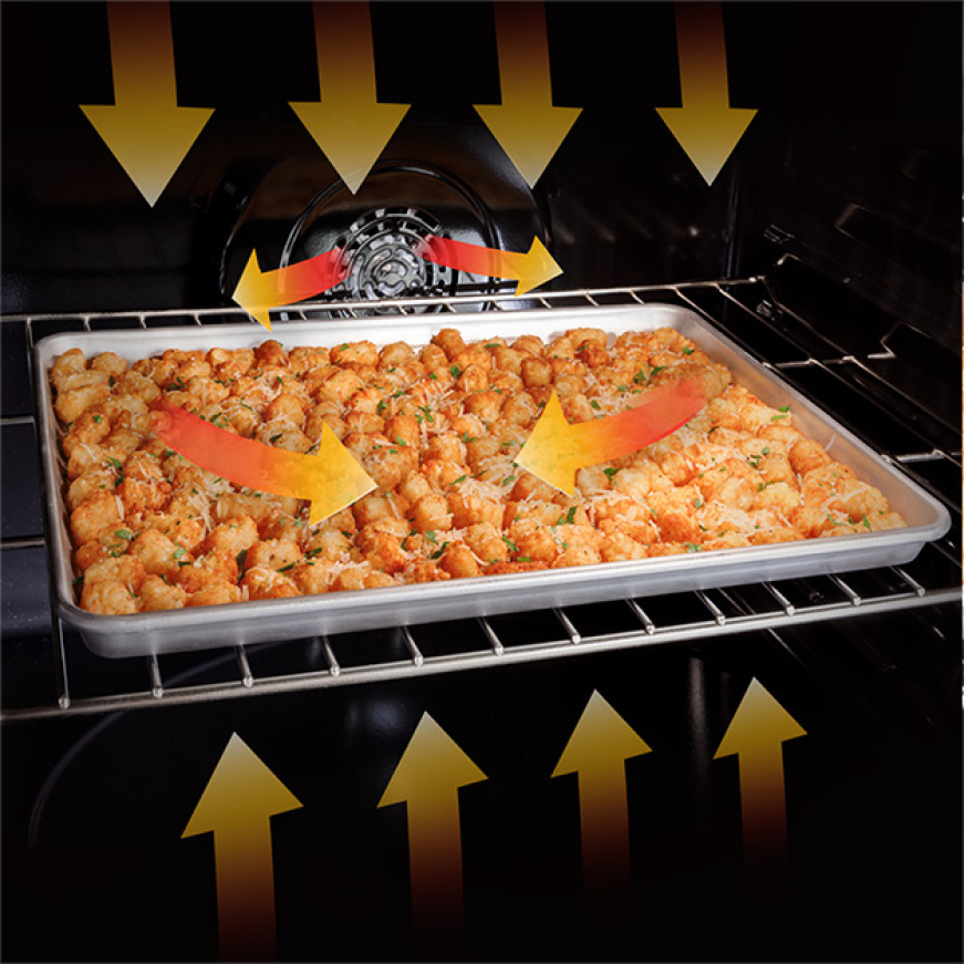 Tater tots air frying in the oven with arrow graphics swirling to indicate heat and temperature and direction of air flow