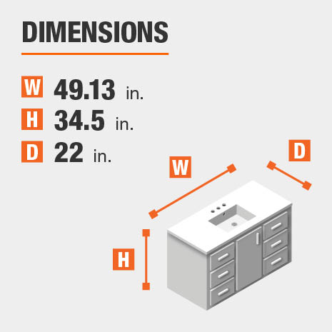 The dimensions of this bathroom vanity are 49.13 in. W x 34.50 in. H x 22.00 in. D