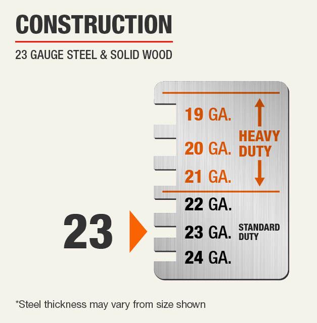 23 Gauge Steel & Solid Wood Construction