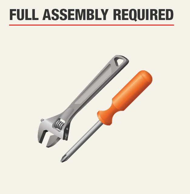Full assembly required for garage storage workbench