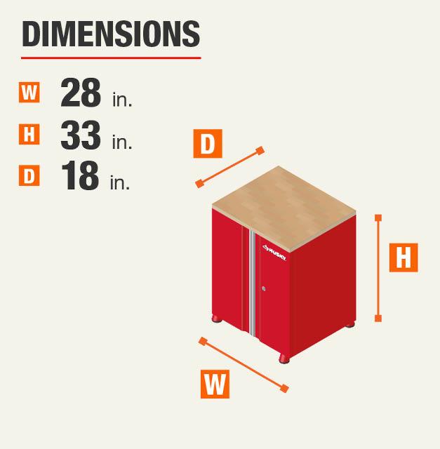 28.13 in. W x 32.8 in. H x 18.3 in. D Garage Cabinet
