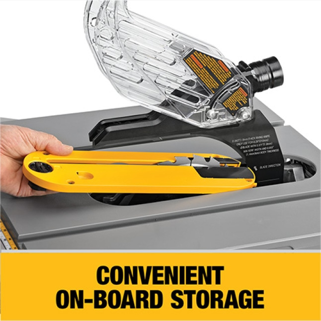 Easily store guard, fence, wrenches and miter gauge.