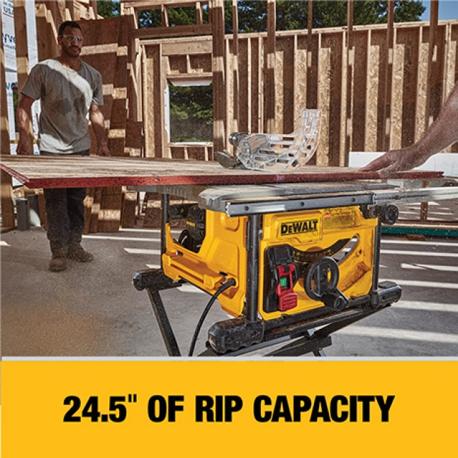 The DWE7485 has a 24-1/2 in. rip capacity for ripping 4x8 plywood or OSB sheets.