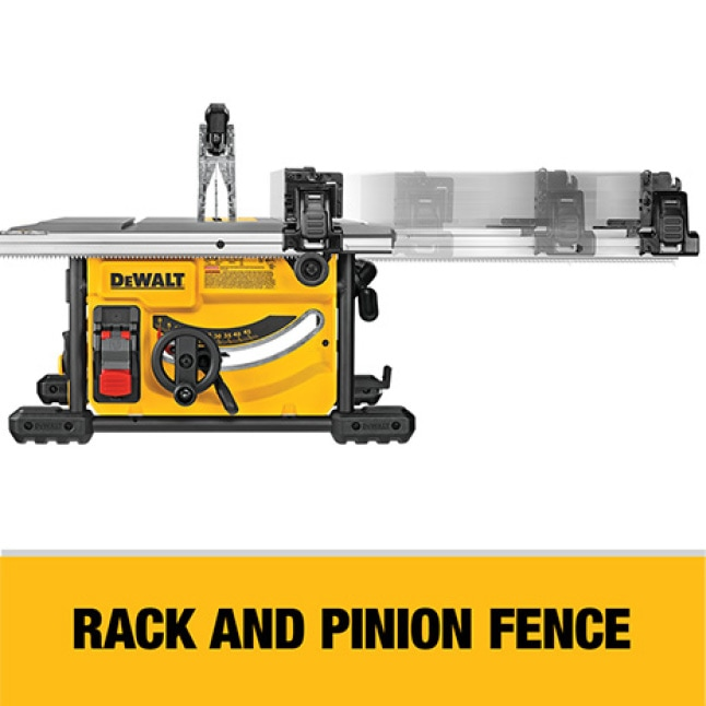 The rack and pinion fence allows for fast, easy adjustment and provides the capacity to rip 4x8 sheet goods.