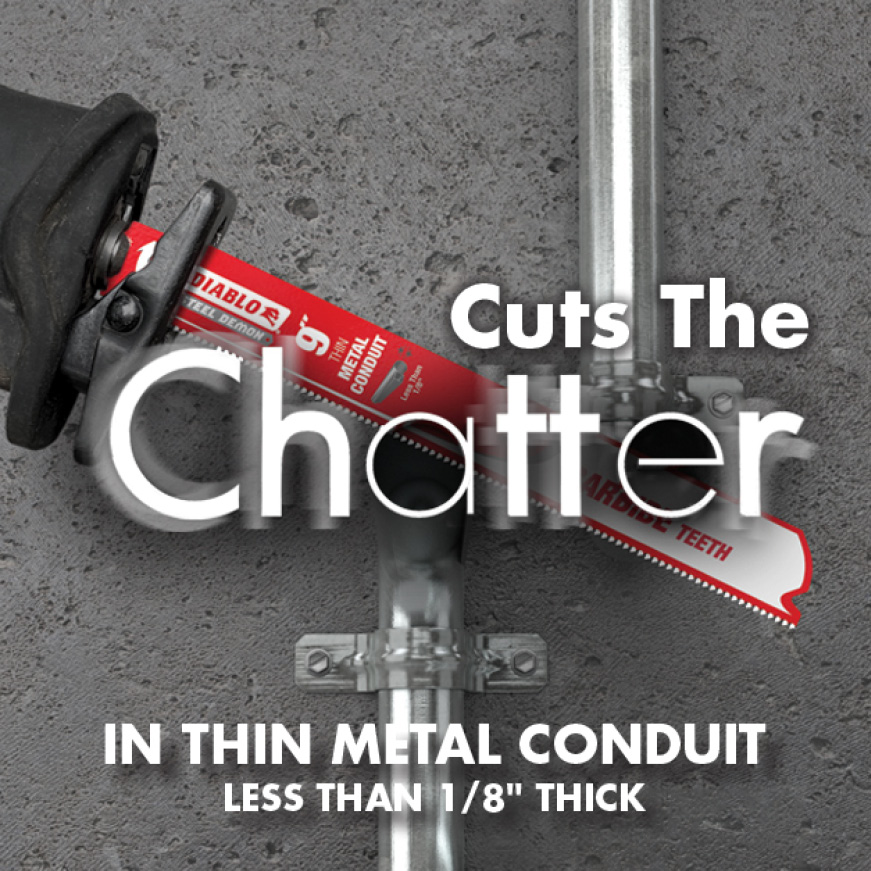 This is an image of Thin Metal Conduit Blade Cutting the Chatter