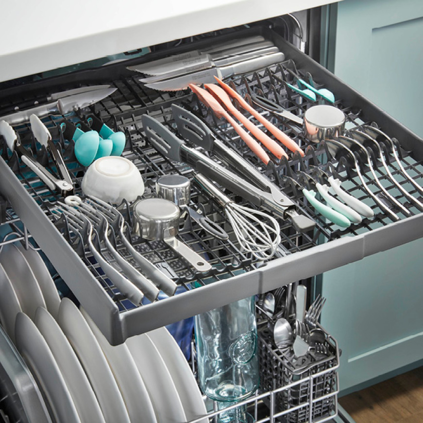 Load hard-to-fit utensils to free up more space for dishes below.