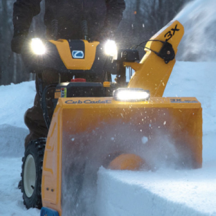 Cub Cadet three-stage snow blower, LED headlights, lightbar