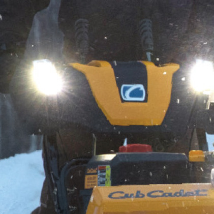 Cub Cadet two-stage snow blower, LED headlights, lightbar