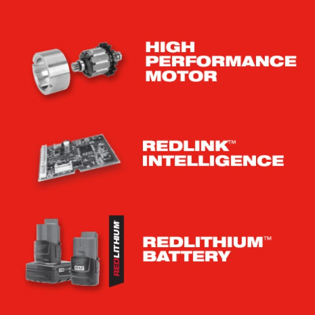 M12 System tools offer high performance motors, REDLINK intelligence, and REDLITHIUM batteries.