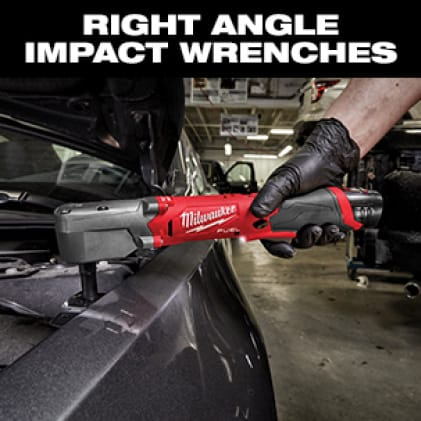 Auto professional uses an M12 FUEL Right Angle Impact Wrench to complete engine bay maintenance.