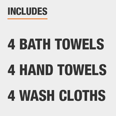 Set includes four bath towels, four hand towels, and four wash cloths