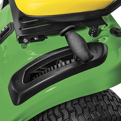 Image showing handle that lifts and lowers the mower deck