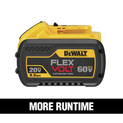 20 VOLT 4.0Ah and 5.0Ah batteries are designed for longer runtimes and more power.