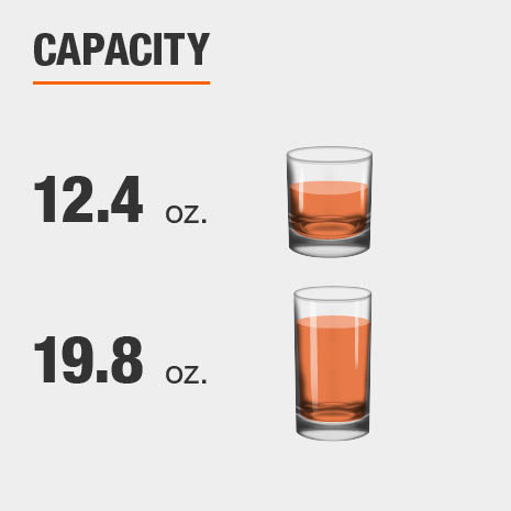 Drinkware set capacity is 12.4 fluid ounces for double old-fashioned glasses and 19.8 fluid ounces for highball glasses